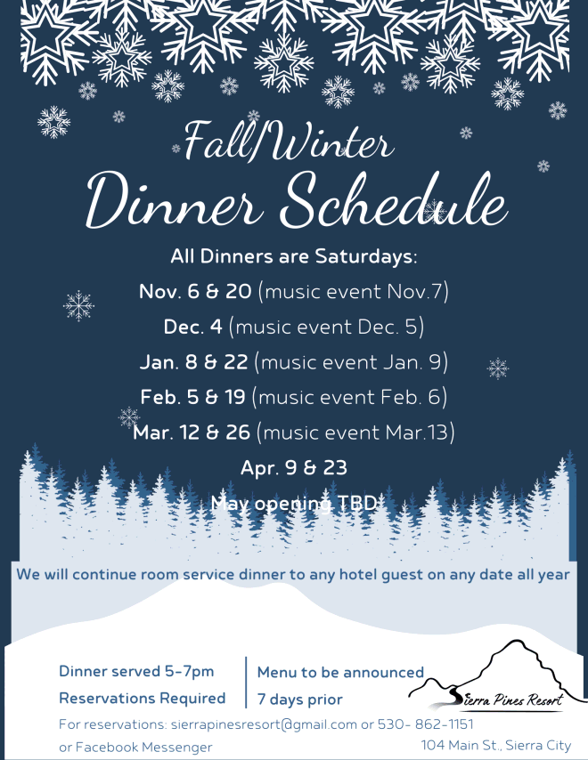 Fall/Winter Dinner Schedule 2021-22